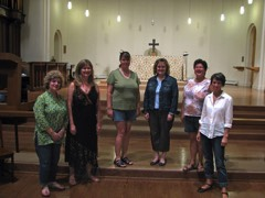 August 2010&#58 The six voice version of the Schola Magdalena with Janet Reid Nahabedian visiting from Strasbourg France&#44 Stephanie Martin&#44 newcomer Gillian Howard&#44 Julia Armstrong&#44 Jo-Ann Dawson and Kathryn Smith.